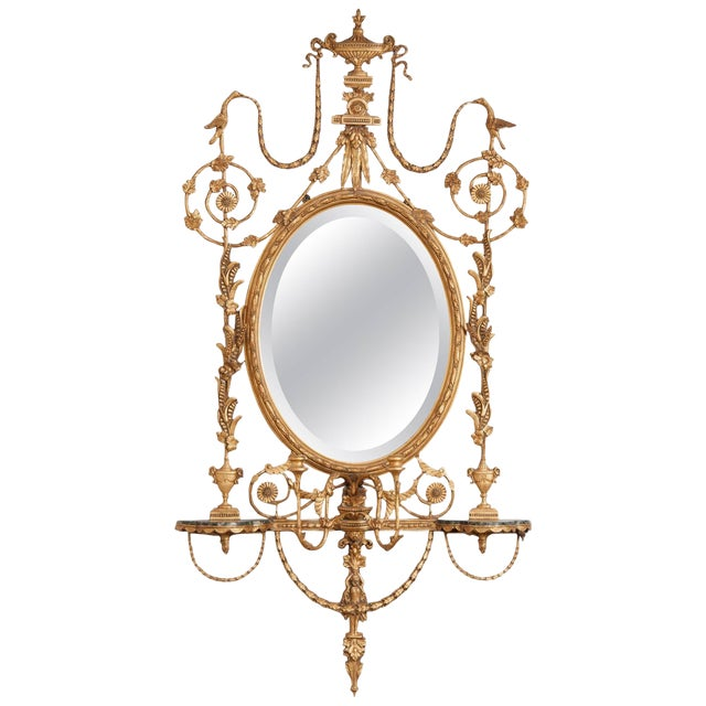 George III Style Giltwood Girandole Mirror For Sale
