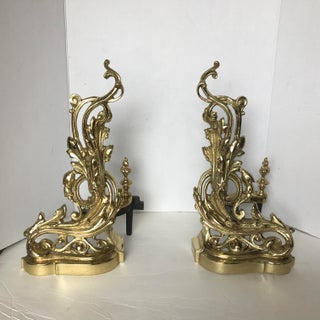19th Century French Rococo Baroque Style Brass Andirons - a Pair Preview
