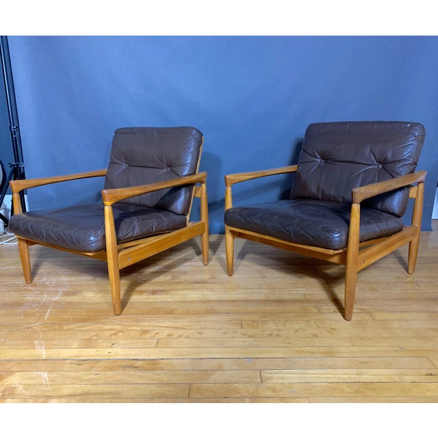 Pair Erik Wørts Solid Oak & Leather Lounge Chairs, Sweden 1960s For Sale - Image 12 of 12
