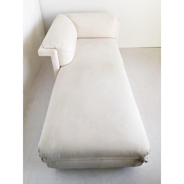 White Two French Art Deco Chaise Lounges with Brass Base For Sale - Image 8 of 10