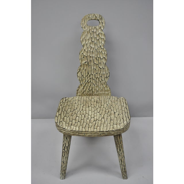 Beige Contemporary High Back Carved Wood Side Chair For Sale - Image 8 of 12