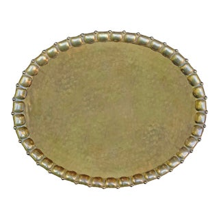 Early 20th Century German Jugendstil Hammered Brass Tray For Sale