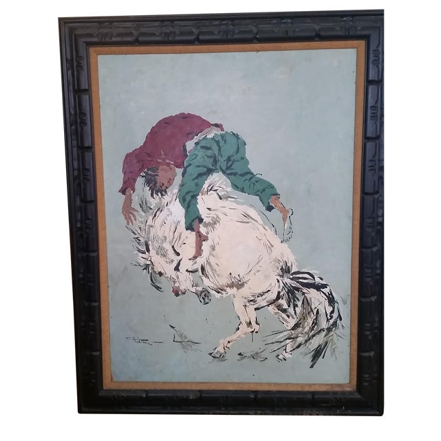 "Large Oil Painting ""Wild Horse Ride"" by Wilton For Sale - Image 5 of 6"