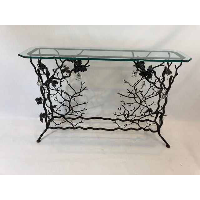 Traditional 1980s Traditional Hand Forged Iron Console Table and Wine Rack For Sale - Image 3 of 11