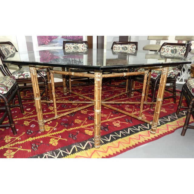 1990s McGuire Bamoo and Laced Rawhide Octagonal Dining Table For Sale - Image 5 of 13