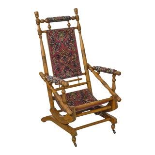 Antique 19th Century Victorian Carpet Upholstered Platform Rocker For Sale