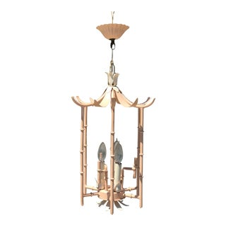 Vintage Faux Bamboo Pagoda Three Light Chandelier For Sale