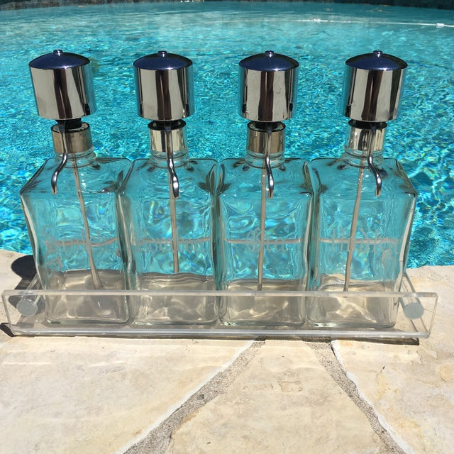 Vintage Chrome Pump Decanter Set & Lucite Tray - Image 3 of 11