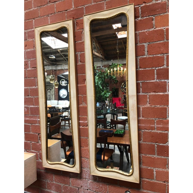 Italian Pair of Large Italian Wall Mirrors, 1950s For Sale - Image 3 of 8
