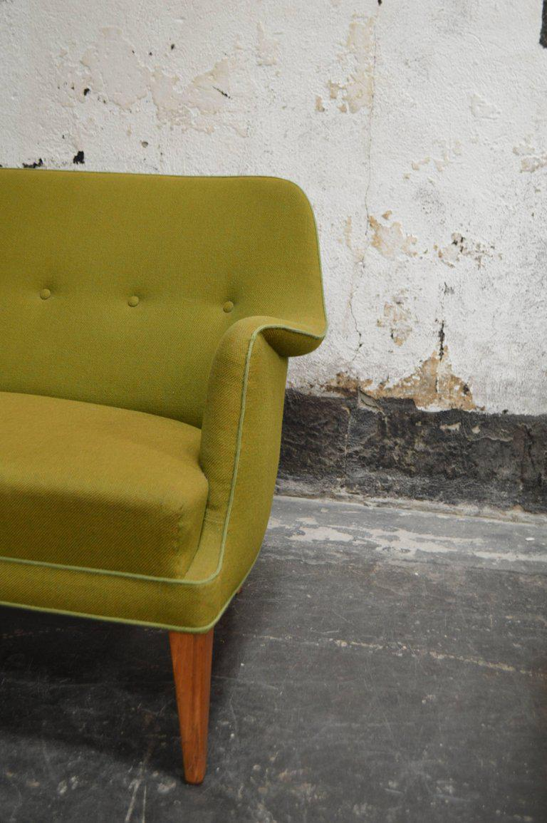 Mid Century Scandinavian Modern Green Tweed Sofa In The Style Of Carl  Malmsten For Sale