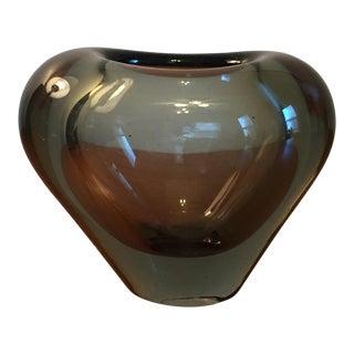 Holmegaard Smoke Glass Heart Vase