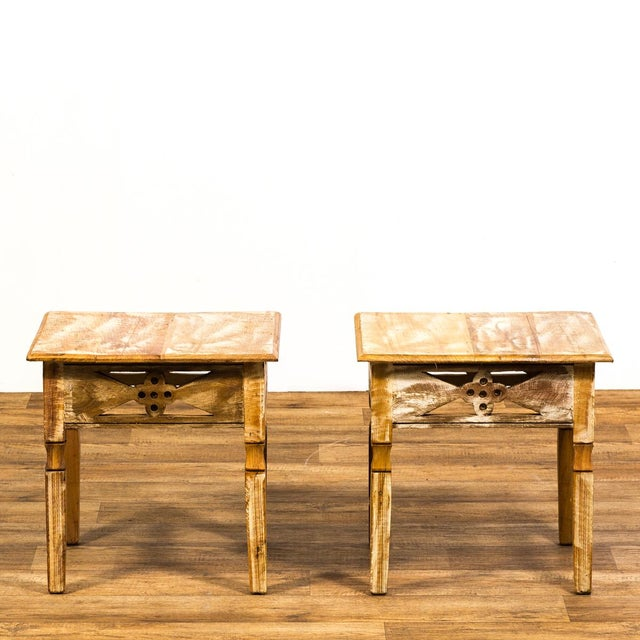 Art Deco Reclaimed Wood Side Tables - a Pair For Sale - Image 3 of 6