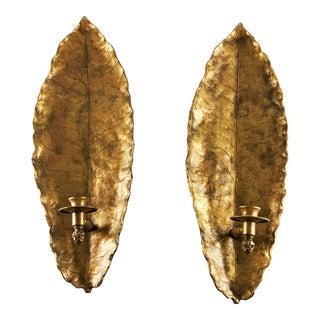 Vintage Gold Figural Tropical Leaf Candle Sconces - a Pair For Sale