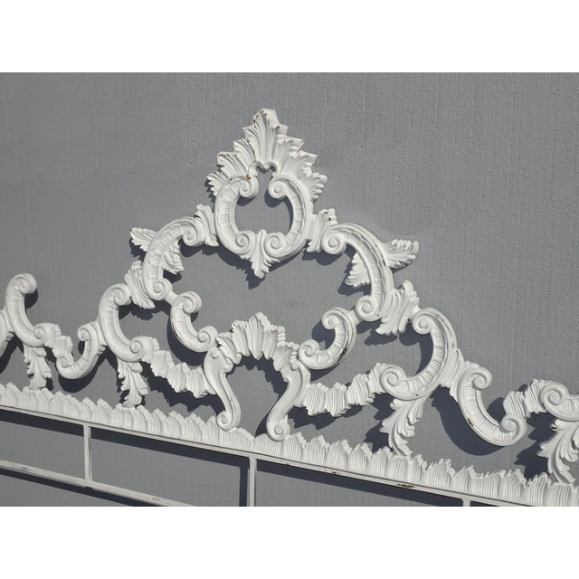 1970s Vintage French Provincial Louis XVI Rococo White Metal King Headboard For Sale - Image 5 of 12
