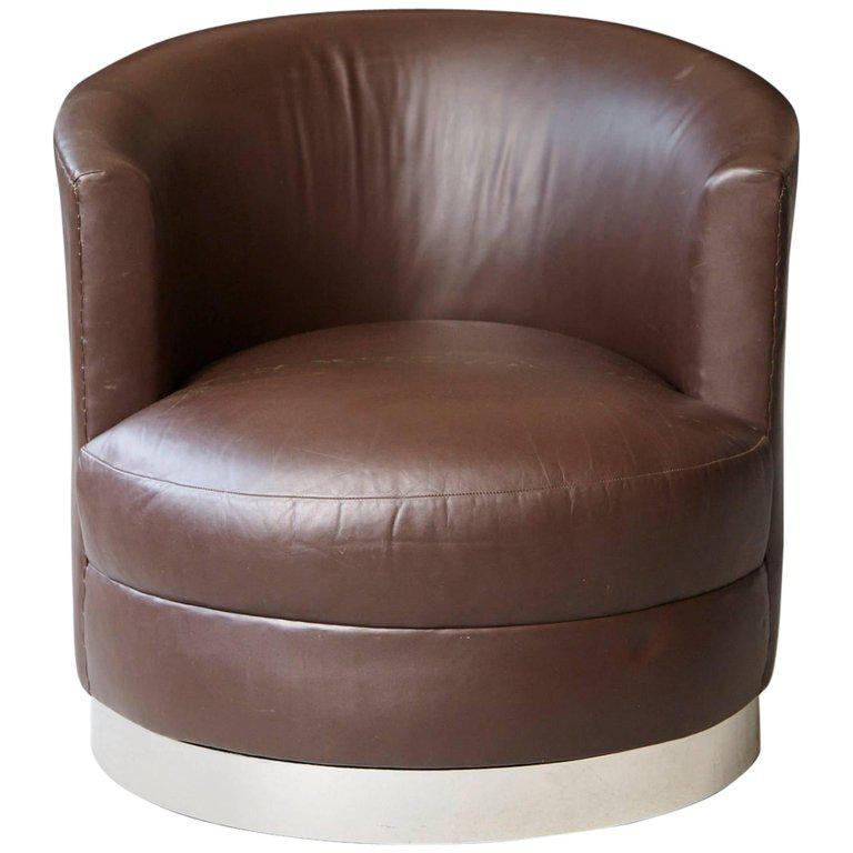 Chocolate Brown Leather Swivel Club Chair In The Style Of Karl Springer    Image 2 Of