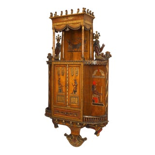 Egyptian Style Painted Hanging Wall Cabinet For Sale
