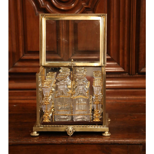 Gold 19th Century French Napoleon III Gilt Bronze and Glass Complete Cave a Liqueur For Sale - Image 8 of 11
