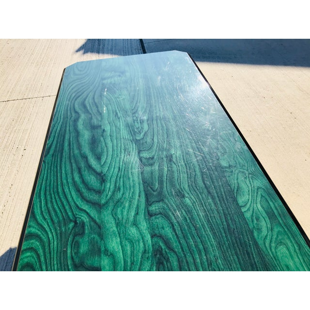 1980s Vintage Wood Coffee Table Malachite Finish For Sale - Image 10 of 12