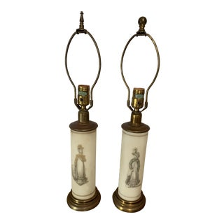 1930s Antique/Vintage Frosted Glass Table Lamps - a Pair For Sale