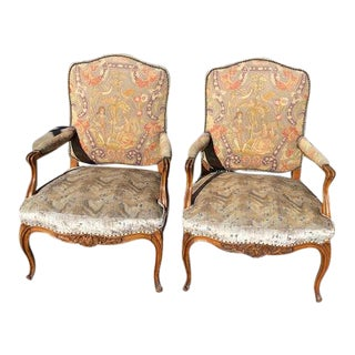 Pair of 19th. C. French Walnut Petite Needle Point Arm Chairs For Sale