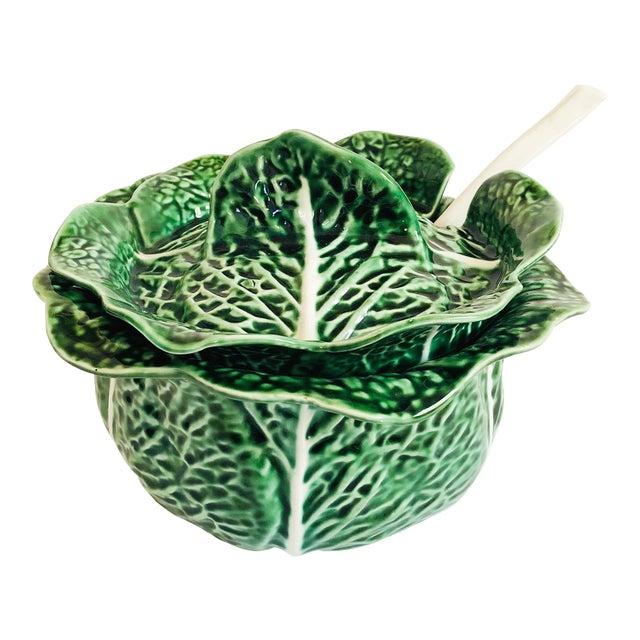 Vintage Cabbageware Lidded Serving Bowl For Sale