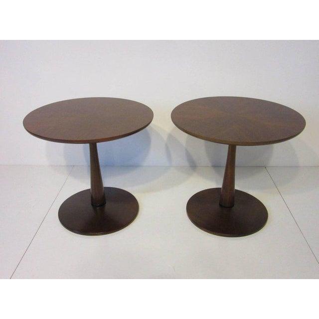 Ebony Kipp Stewart for Drexel Declaration Walnut Pedestal Side Tables For Sale - Image 7 of 7