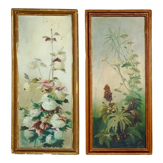 Antique Distressed Floral Panel Paintings - a Pair