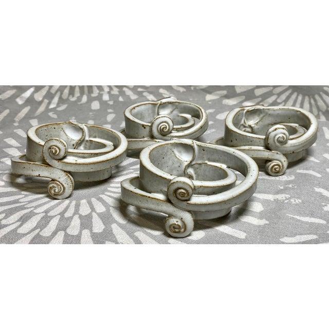 1970s Vintage Raku Harloff & Hunt Studio Pottery Napkin Rings - Set of 4 For Sale - Image 4 of 4