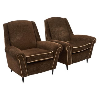 Mid-Century French Modernist Dark Brown Mohair Armchairs - a Pair For Sale