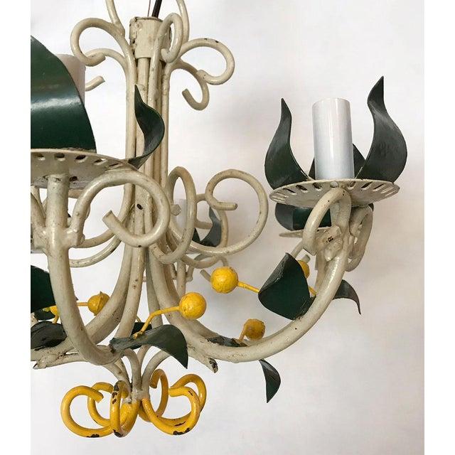 Metal Vintage Tole Floral Chandelier For Sale - Image 7 of 9