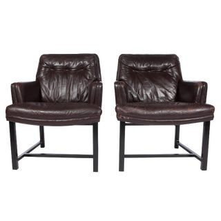 1960's Vintage Edward Wormley for Dunbar Leather Armchairs- A Pair For Sale