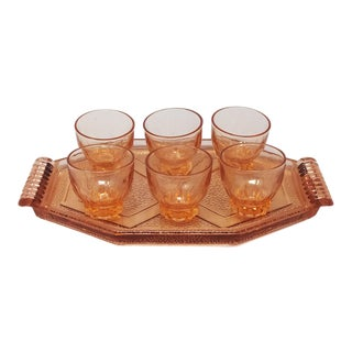 1930s Art Deco French Peach Pink Brandy/Whiskey Set - 7 Piece Set For Sale