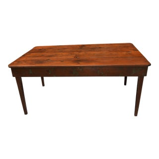 Rustic Dark Pine Farmhouse Kitchen Dining Table For Sale