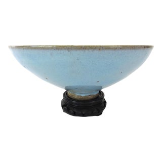 Late 19th Century Antique Chinese Fine Pale Blue Jun Ware Bowl and Display Stand For Sale