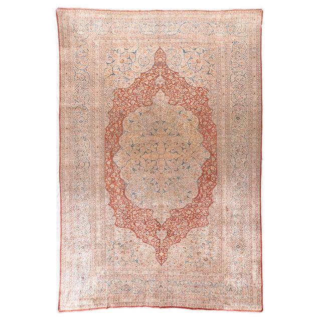Antique Ivory Tabriz Haji Jalili Persian Area Rug For Sale - Image 4 of 4