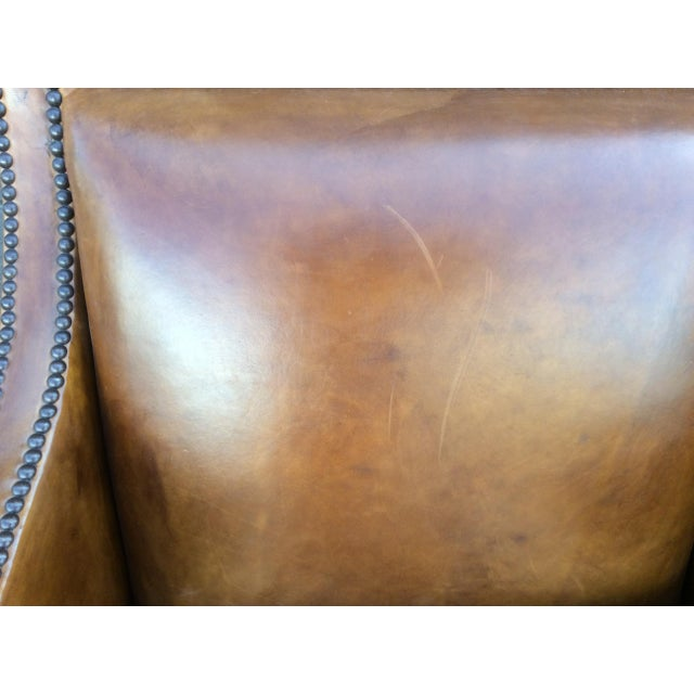 Brown Leather Club Chair For Sale - Image 9 of 12