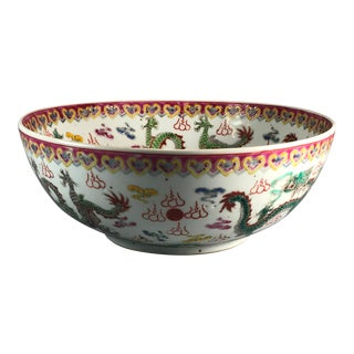 Late 19th Century Chinese Famille Verte Porcelain 'Nine-Dragon' Bowl For Sale