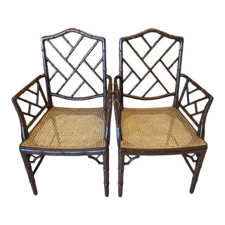 Vintage Chinese Chippendale Faux Bamboo Armchairs or Host & Hostess Chairs - a Pair For Sale