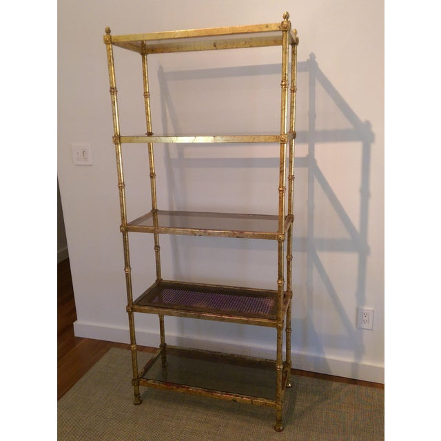 maison jansen hollywood regency gold gilt etagere chairish. Black Bedroom Furniture Sets. Home Design Ideas