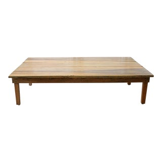 20th Century Country Pine Farm Style Coffee Table For Sale