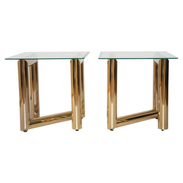"""Brass """"Z"""" Shaped End Tables - A Pair - Image 1 of 7"""