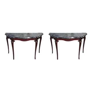 Fine Pair of Portuguese Rococo Rosewood and Marble Consoles For Sale