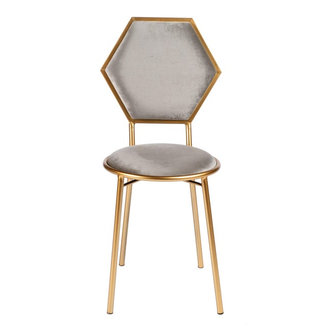 2010s Le Petit Chair in Gray Velvet With Gold Legs For Sale - Image 5 of 5