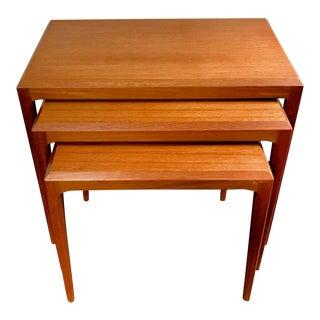 Johannes Andersen for Cfc Silkeborg Teak Tables - Set of 3 For Sale