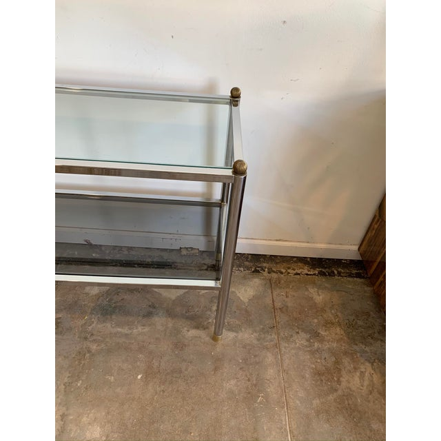Mid-Century Modern 1970s Mid-Century Modern Chrome & Glass Entry Table For Sale - Image 3 of 7