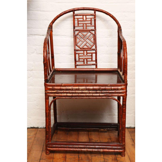 Single 19th Century Chinese Horseshoe-Back Bamboo Armchair with Elm Base For Sale - Image 12 of 12
