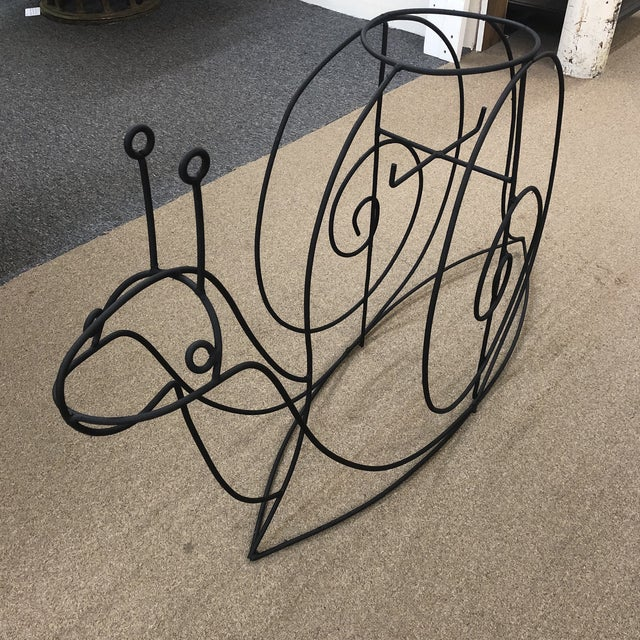 Abstract Large Vintage Wrought Iron Snail Plant Holder For Sale - Image 3 of 5