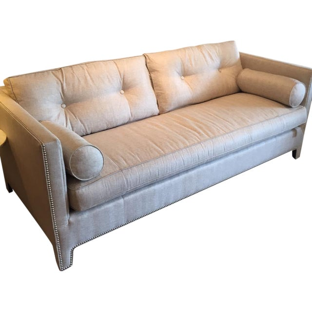 Contemporary Linen Sofa - Image 1 of 9