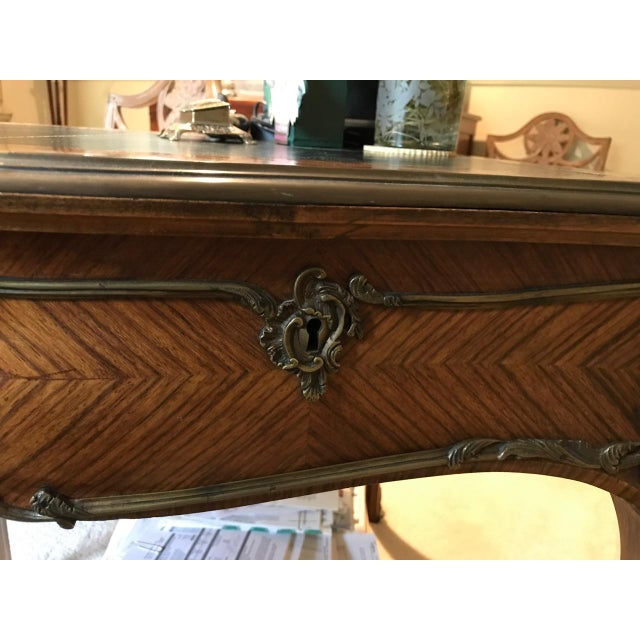 Brown Louis XV Style Kingwood Veneer and Brass Mounted Writing Desk For Sale - Image 8 of 12