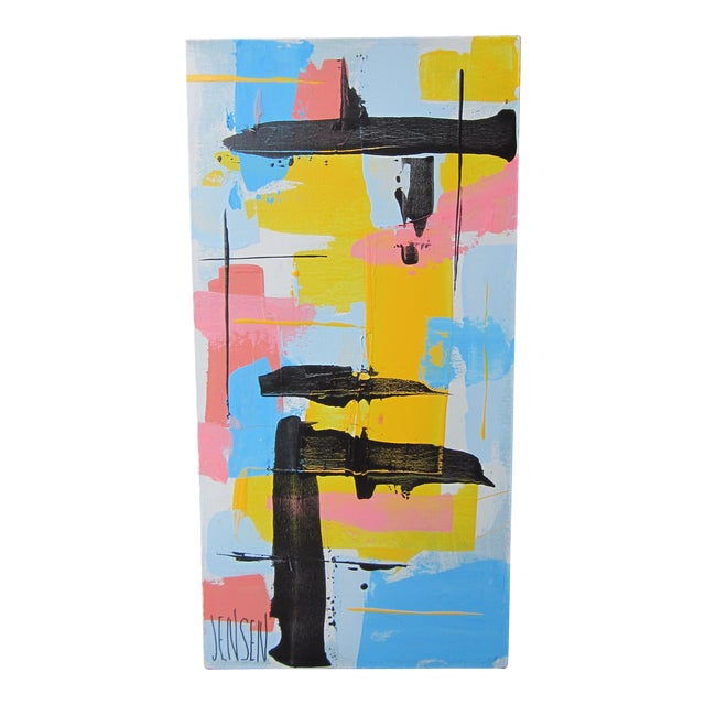 1960s Vintage Jensen Abstract Geometric Vertical Panel Acrylic on Canvas Signed Painting For Sale